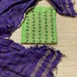 Green and Violet Cotton Suit Set