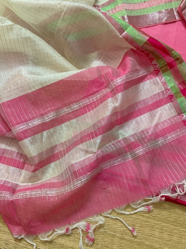 Off-white cotton with Baby Pink Top-1
