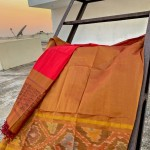 Mustard and red Pattu by Cotton